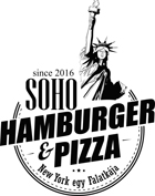 pizza and hamburger fast food logo